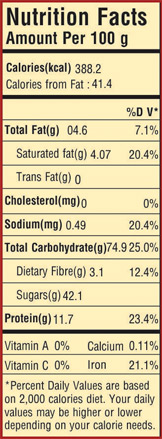 Nutrition facts of Falooda Mix